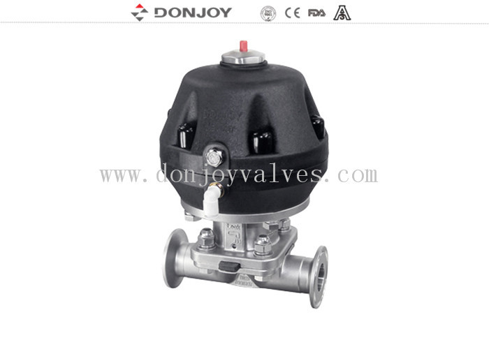 Pneumatic Sanitary Diaphragm Valve Stainless Steel 316 Forged Body Double Acting