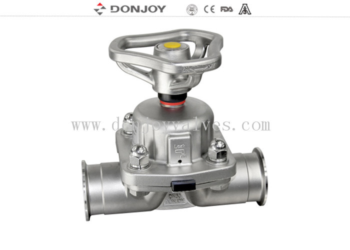 Stainless Steel Manual Sanitary  Diaphragm Valve With FDA Membrane One Year Warranty