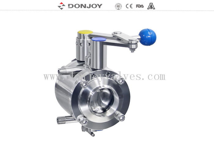 "Sanitary stainless steel butterfly valves , 4"" Manual mixing proof butterfly valve"