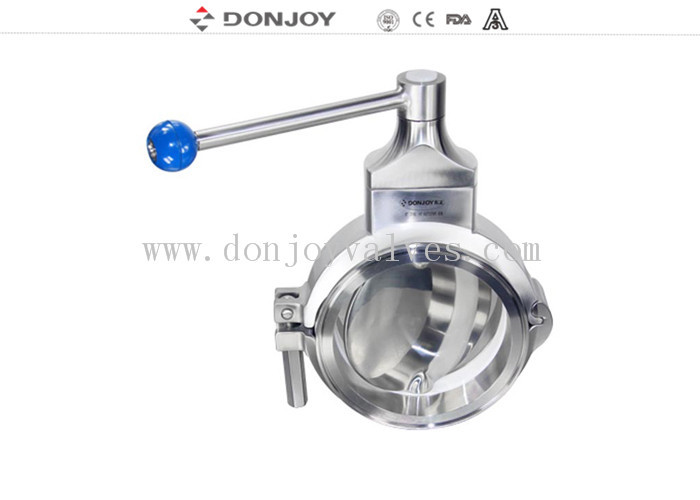 Sanitary Grade Manual Butterfly Valves Multi - Position Handle For Regulating Flow