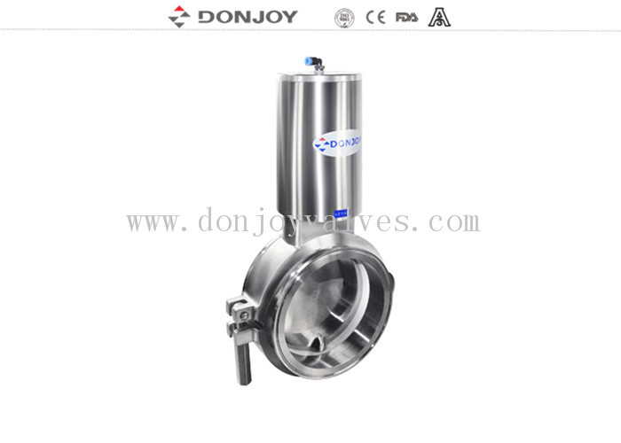 Sanitary level 3inch powder butterfly valves with stainless steel actuator