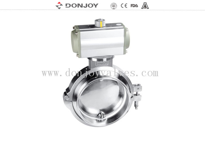 Hygienic single acting  pneumatic powder clamp butterfly valve small torque