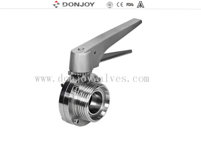 Manual Thread sanitary Butterfly Valve with stainless steel handle