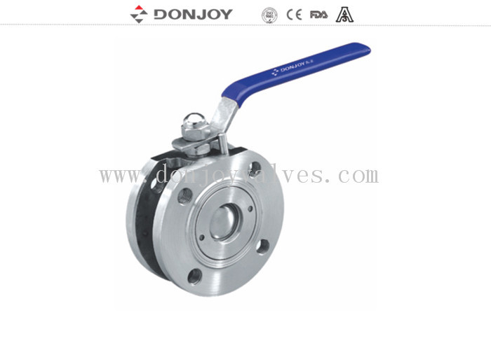 Higher Pressure Wafer type flange Sanitary Ball Valve manual SS304 / SS316L