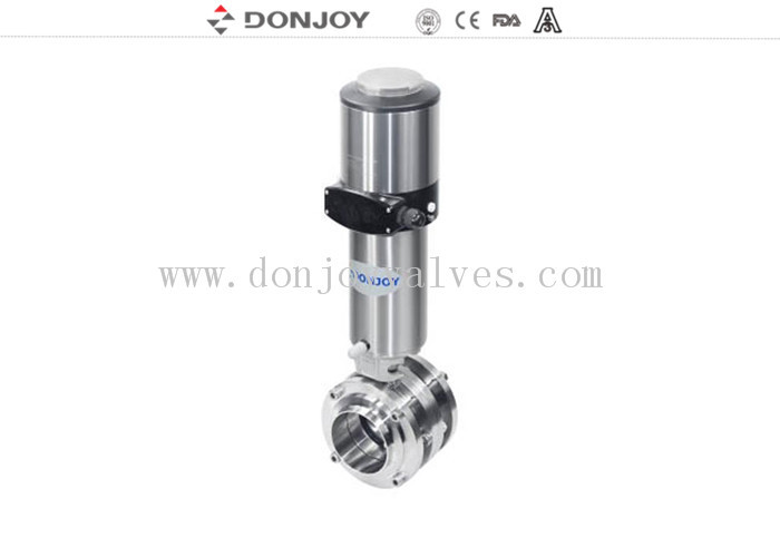High purity 3PC butterfly valves sanitary pneumatic mixture proof  with positioner