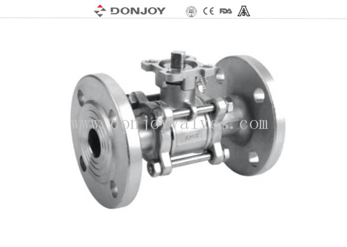 JIS-Flanged Sanitary Ball Valve ,  3 PCS Ball valve With flange Connection